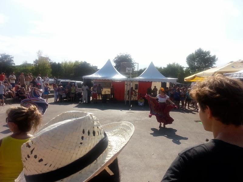 Street performer dancing in crowd