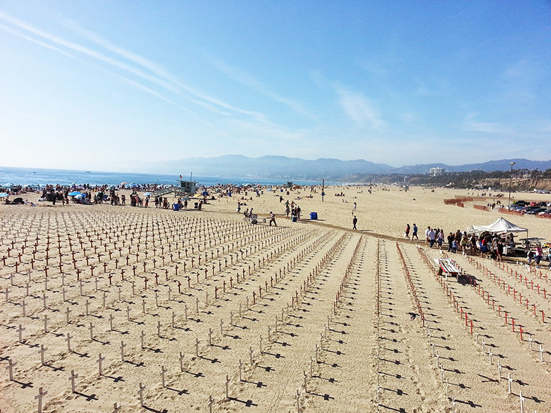 Crosses on Santa Monica Beach
