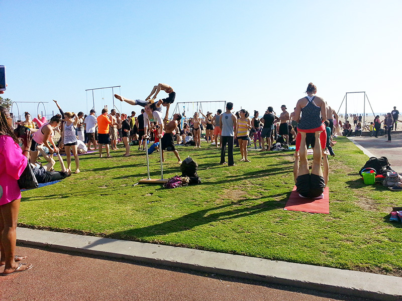 People working out on Santa Monica Beach