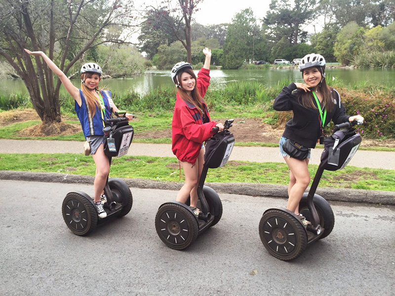 Girls on Segway in Golden Gate Park California
