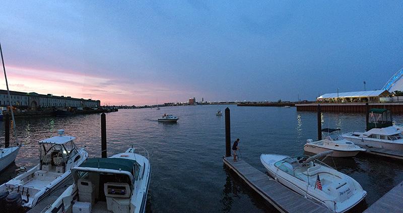 sunset in boston seaport