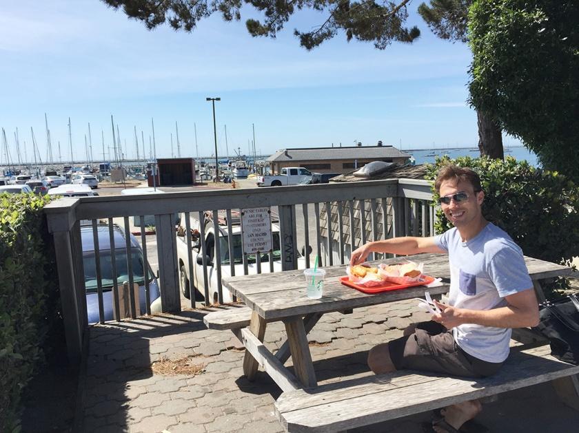 Eating seafood by Halfmoon Bay