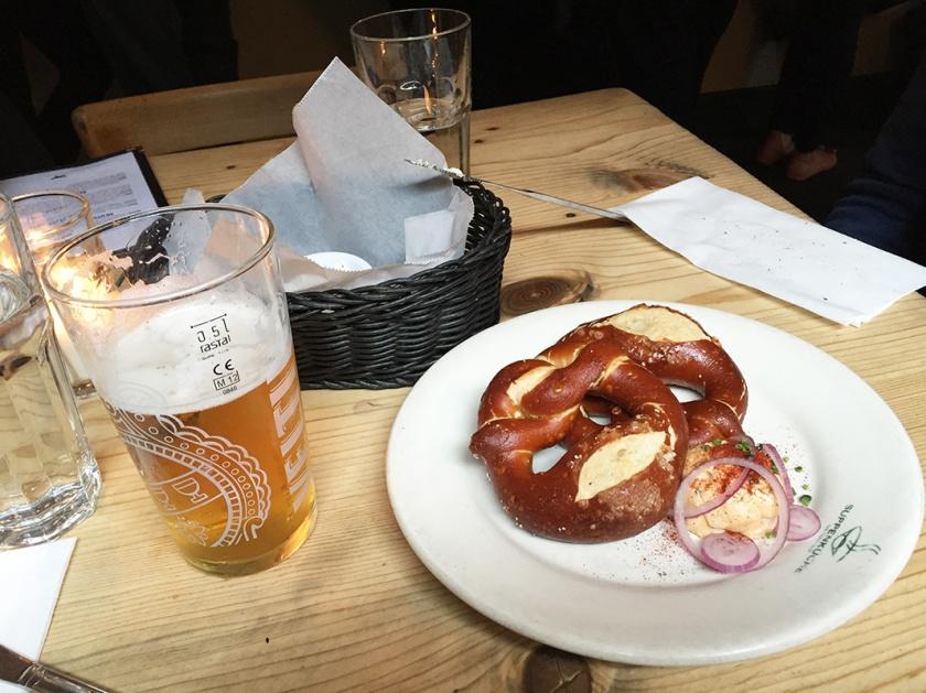 German Beer and pretzel at Suppenkuchen
